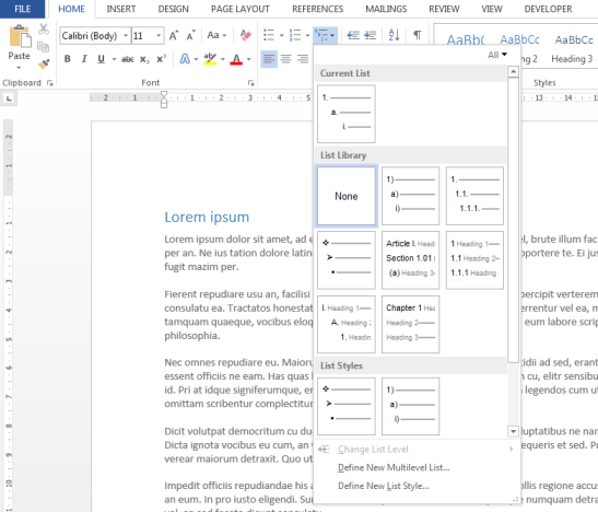 Multilevel lists gallery in Word