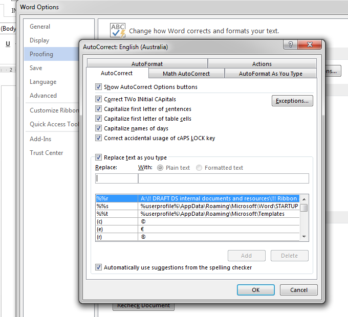 AutoCorrect dialogue box - use AutoCorrect to be more effective when writing business documents.