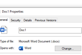 The File Explorer Properties dialogue box. This can be used to see a document's properties.