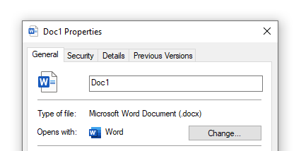 Properties dialogue box, opened via File Explorer. 'Type of file' shows file format and extension – Word document (.docx).